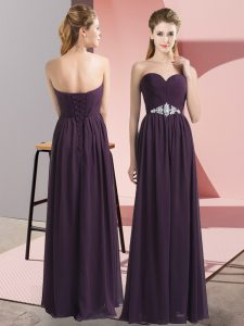 Dark Purple Empire Chiffon Sweetheart Sleeveless Beading Floor Length Lace Up Prom Evening Gown