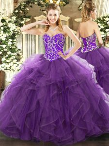 Eggplant Purple Sleeveless Beading and Ruffles Floor Length Quince Ball Gowns