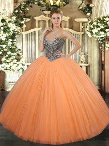 Tulle Sweetheart Sleeveless Lace Up Beading Quinceanera Gowns in Orange