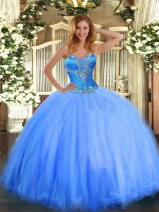 Pretty Blue Sweetheart Neckline Beading 15 Quinceanera Dress Sleeveless Lace Up