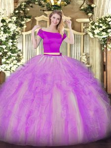 Simple Tulle Short Sleeves Floor Length Quince Ball Gowns and Appliques and Ruffles