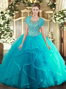 Eye-catching Floor Length Aqua Blue Quinceanera Gown Tulle Sleeveless Beading and Ruffled Layers