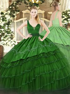 High Class Dark Green Sleeveless Floor Length Beading and Embroidery and Ruffled Layers Zipper Sweet 16 Dress