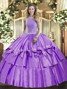 Dramatic Organza and Taffeta Sleeveless Floor Length Quinceanera Gowns and Beading and Ruffled Layers