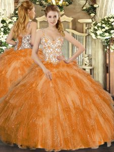 Beauteous Floor Length Ball Gowns Sleeveless Orange Quinceanera Gown Lace Up
