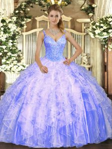 Charming Beading and Ruffles Sweet 16 Dress Lavender Lace Up Sleeveless Floor Length