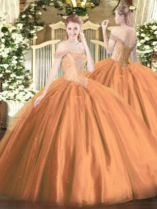 Adorable Off The Shoulder Sleeveless Tulle Quince Ball Gowns Beading Lace Up