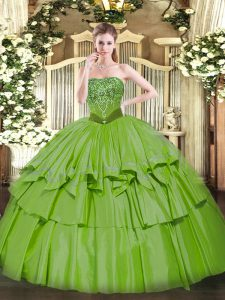 Glittering Sleeveless Organza and Taffeta Floor Length Lace Up Quince Ball Gowns in with Beading and Ruffled Layers