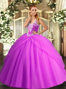Sleeveless Lace Up Floor Length Beading and Pick Ups Quinceanera Dresses