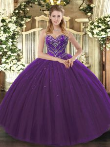 Sleeveless Tulle Floor Length Lace Up 15 Quinceanera Dress in Dark Purple with Beading