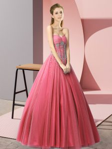 Fashion Tulle Sleeveless Floor Length Prom Dresses and Beading