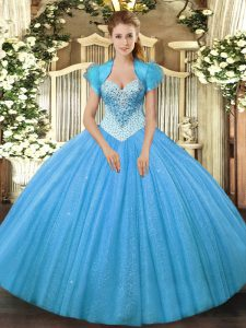 Popular Aqua Blue Quince Ball Gowns Military Ball and Sweet 16 and Quinceanera with Beading Sweetheart Sleeveless Lace Up