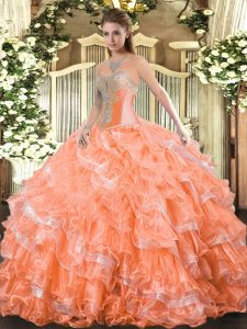 Floor Length Lace Up 15th Birthday Dress Orange Red for Military Ball and Sweet 16 and Quinceanera with Beading and Ruffled Layers