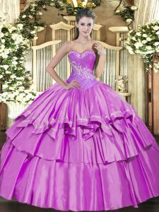 Vintage Sleeveless Beading and Ruffled Layers Lace Up Quinceanera Gown