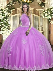 Best Lilac Lace Up High-neck Beading and Appliques Quinceanera Dresses Tulle Sleeveless