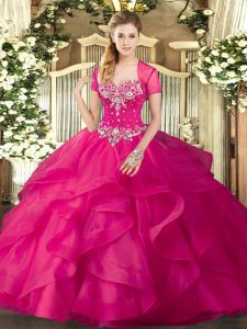 Beautiful Tulle Sleeveless Floor Length Sweet 16 Dress and Beading and Ruffles