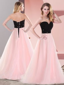 Pink And Black Sweetheart Lace Up Belt Prom Evening Gown Sleeveless