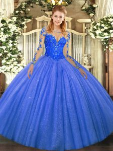 Blue Ball Gown Prom Dress Military Ball and Sweet 16 and Quinceanera with Lace Scoop Long Sleeves Lace Up