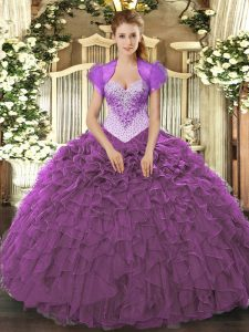 Floor Length Ball Gowns Sleeveless Eggplant Purple Quinceanera Gown Lace Up