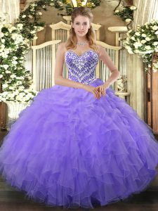 Shining Sleeveless Tulle Floor Length Lace Up Ball Gown Prom Dress in Lilac with Beading and Ruffles