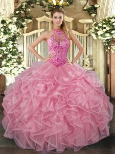 Elegant Baby Pink Halter Top Lace Up Embroidery and Ruffles Quinceanera Gown Sleeveless