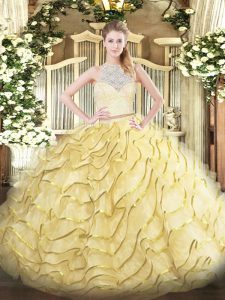 Designer Gold Two Pieces Lace and Ruffles Ball Gown Prom Dress Zipper Tulle Sleeveless