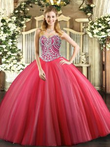 Tulle Sweetheart Sleeveless Lace Up Beading Sweet 16 Dress in Coral Red