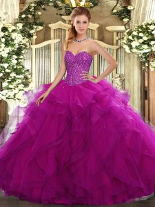 Stunning Ball Gowns Quinceanera Dress Fuchsia Sweetheart Tulle Sleeveless Floor Length Lace Up