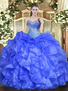 Sweetheart Sleeveless Quinceanera Dress Floor Length Beading and Ruffles Blue Organza