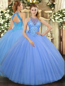 Discount Light Blue Tulle Lace Up Teens Party Dress Sleeveless Floor Length Beading