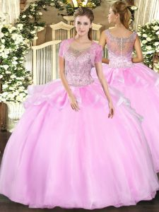 Low Price Baby Pink Ball Gowns Scoop Sleeveless Tulle Floor Length Clasp Handle Beading and Ruffles Quinceanera Gown