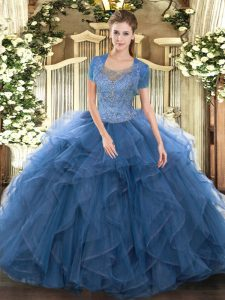 Scoop Sleeveless Clasp Handle Quinceanera Gown Teal Tulle