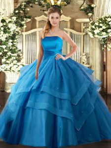 Trendy Floor Length Baby Blue Sweet 16 Dress Strapless Sleeveless Lace Up