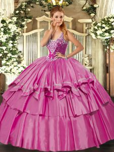 Organza and Taffeta Straps Sleeveless Lace Up Beading and Ruffled Layers 15 Quinceanera Dress in Lilac