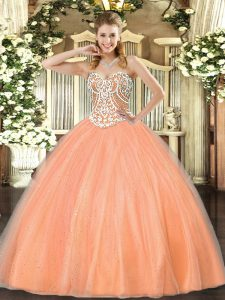Free and Easy Sleeveless Floor Length Beading Lace Up Sweet 16 Dress with Peach