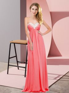 Watermelon Red Lace Up Sweetheart Ruching Chiffon Sleeveless