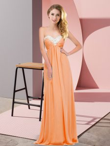 Glittering Sleeveless Lace Up Floor Length Ruching Dress for Prom