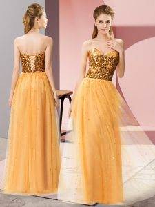 Floor Length Lace Up Prom Evening Gown Gold for Prom and Party with Sequins
