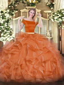 Custom Design Orange Red Off The Shoulder Zipper Appliques and Ruffles Party Dress Wholesale Short Sleeves