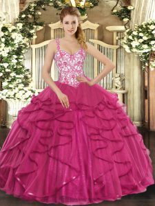 Hot Pink Straps Neckline Beading and Appliques and Ruffles Quinceanera Dresses Sleeveless Lace Up