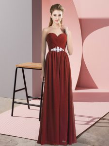 Best Selling Rust Red Sleeveless Beading Floor Length Prom Evening Gown