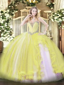 Fabulous Floor Length Yellow Quince Ball Gowns Sweetheart Sleeveless Lace Up
