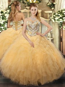 Dramatic Floor Length Gold Sweet 16 Dresses Tulle Sleeveless Beading and Ruffles