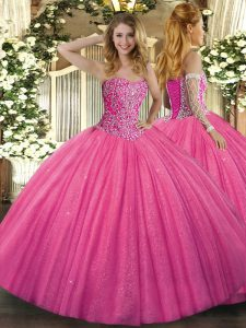 Classical Floor Length Hot Pink Quinceanera Dress Sweetheart Sleeveless Lace Up