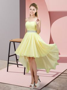Luxurious A-line Prom Dresses Light Yellow Sweetheart Chiffon Sleeveless High Low Lace Up