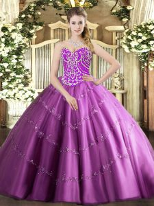 Custom Made Lilac Tulle Lace Up Quinceanera Gowns Sleeveless Floor Length Beading and Appliques