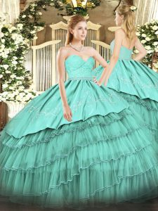 Turquoise Zipper Sweetheart Beading and Lace and Embroidery and Ruffled Layers Sweet 16 Dress Organza and Taffeta Sleeveless