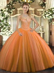 Low Price Floor Length Lace Up Sweet 16 Dresses Orange Red for Military Ball and Sweet 16 and Quinceanera with Beading