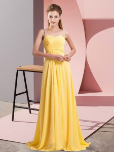 Fabulous Gold Empire Chiffon Spaghetti Straps Sleeveless Ruching Floor Length Lace Up Dress for Prom
