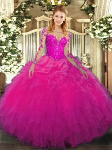 Floor Length Fuchsia Vestidos de Quinceanera Scoop Long Sleeves Lace Up